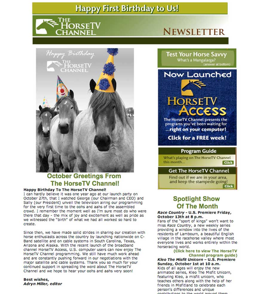 HorseTV Channel Newsletter
