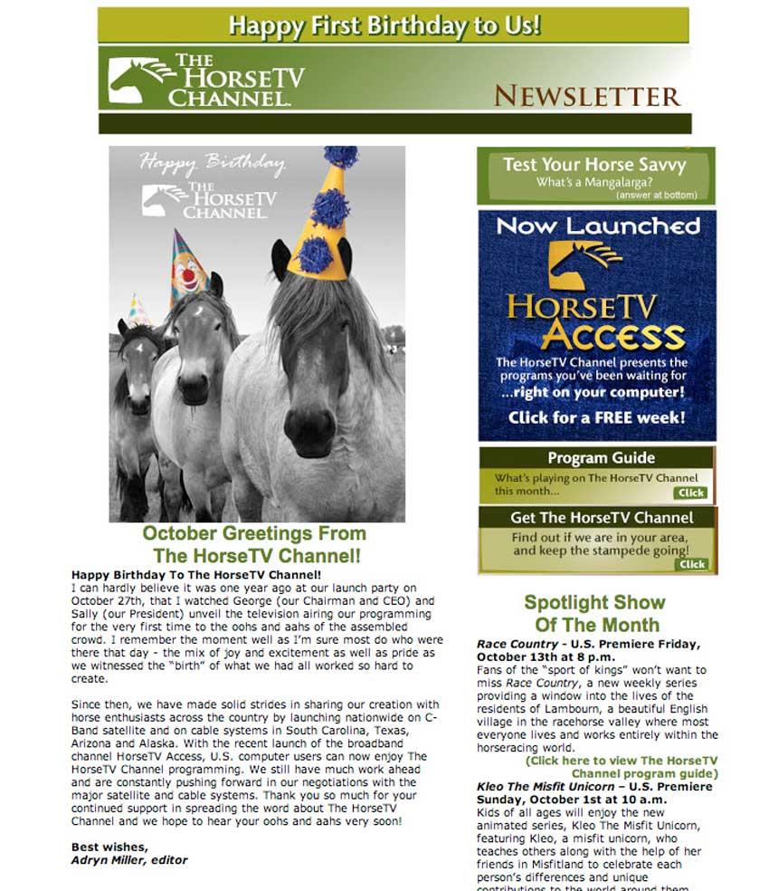 HorseTV Channel Newsletter